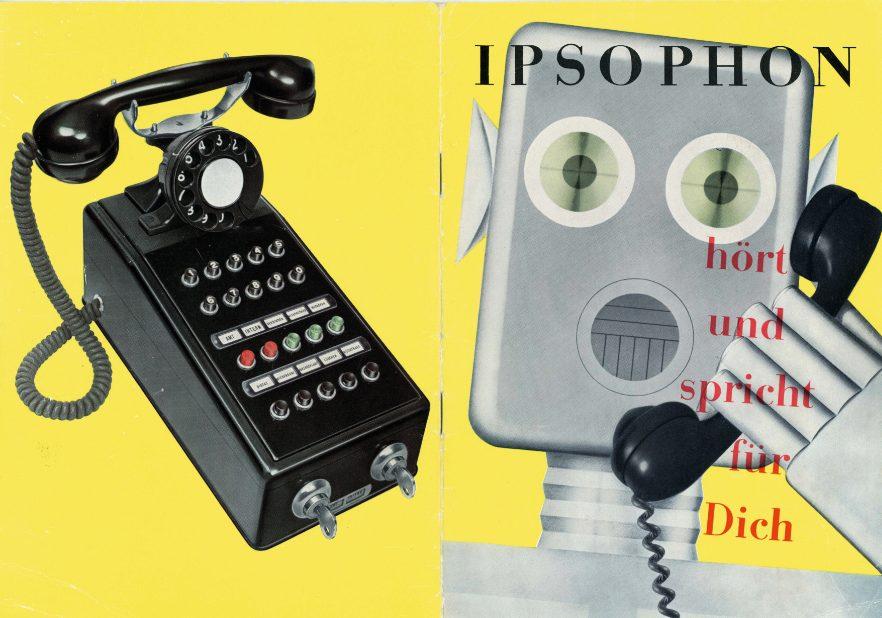 Titelblatt der 20-seitigen Bedienungsanleitung des ersten Telefonbeantworters der Welt: das Ipsophon. Auf dem Bild links zu sehen ist ein Telefonbeantworter, rechts ein aufgeregter Roboter, der einen Telefonhörer an sein blechernes Gesicht hält.
