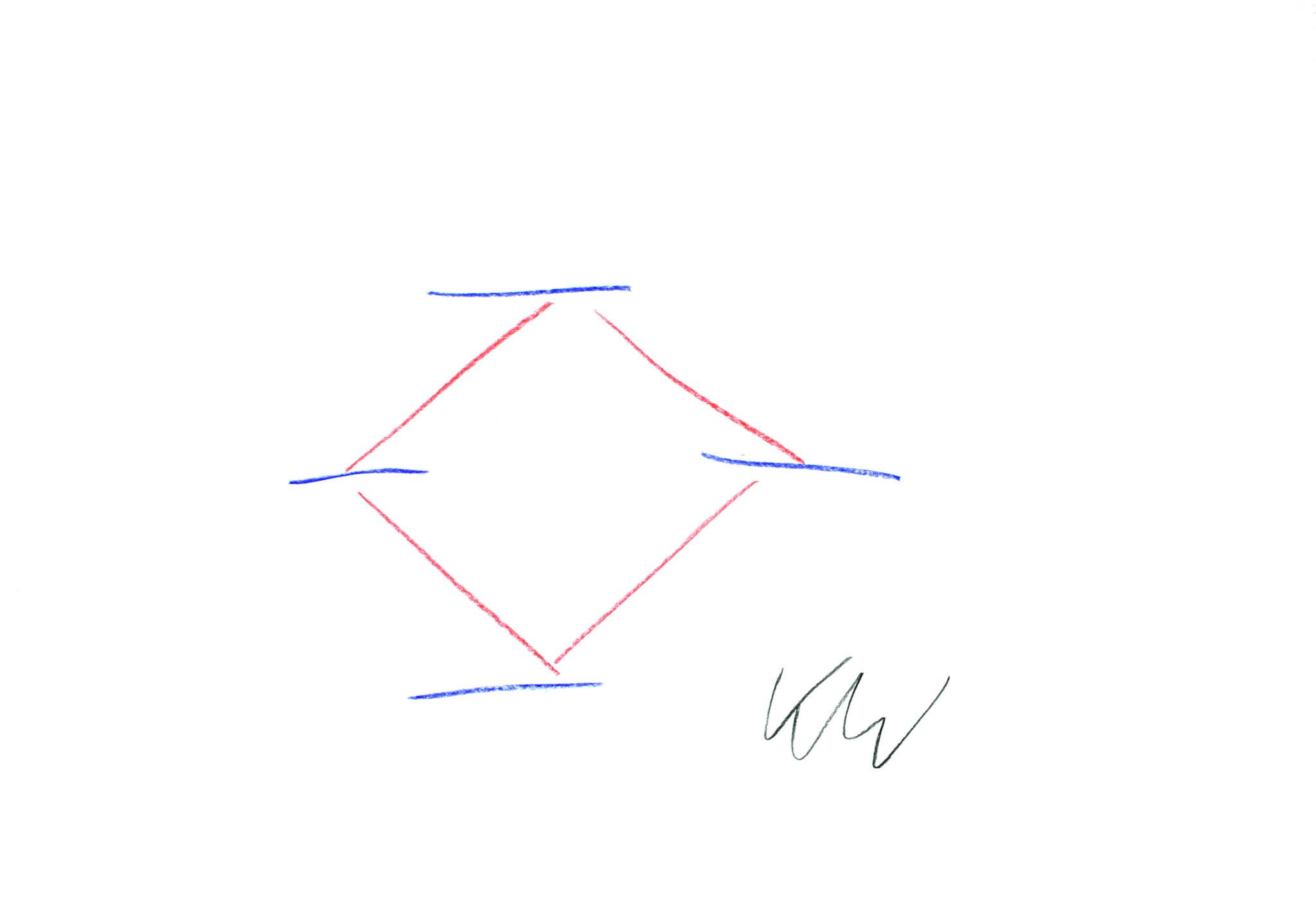 Auf einem weissen Hintergrund eine einfache Skizze. Ein rotes Quadrat, das an den vier Ecken von jeweils einer blauen Linie getrennt wird. Rechts unterhalb der Skizze die Unterschrift von Kurt Wüthrich.