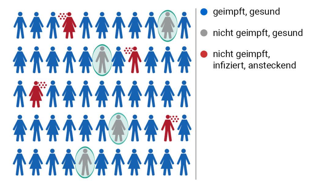 Eine Grafik erklärt die Herdenimmunität: Wenn genug Menschen geimpft sind, schützen sie auch die nicht geimpften.