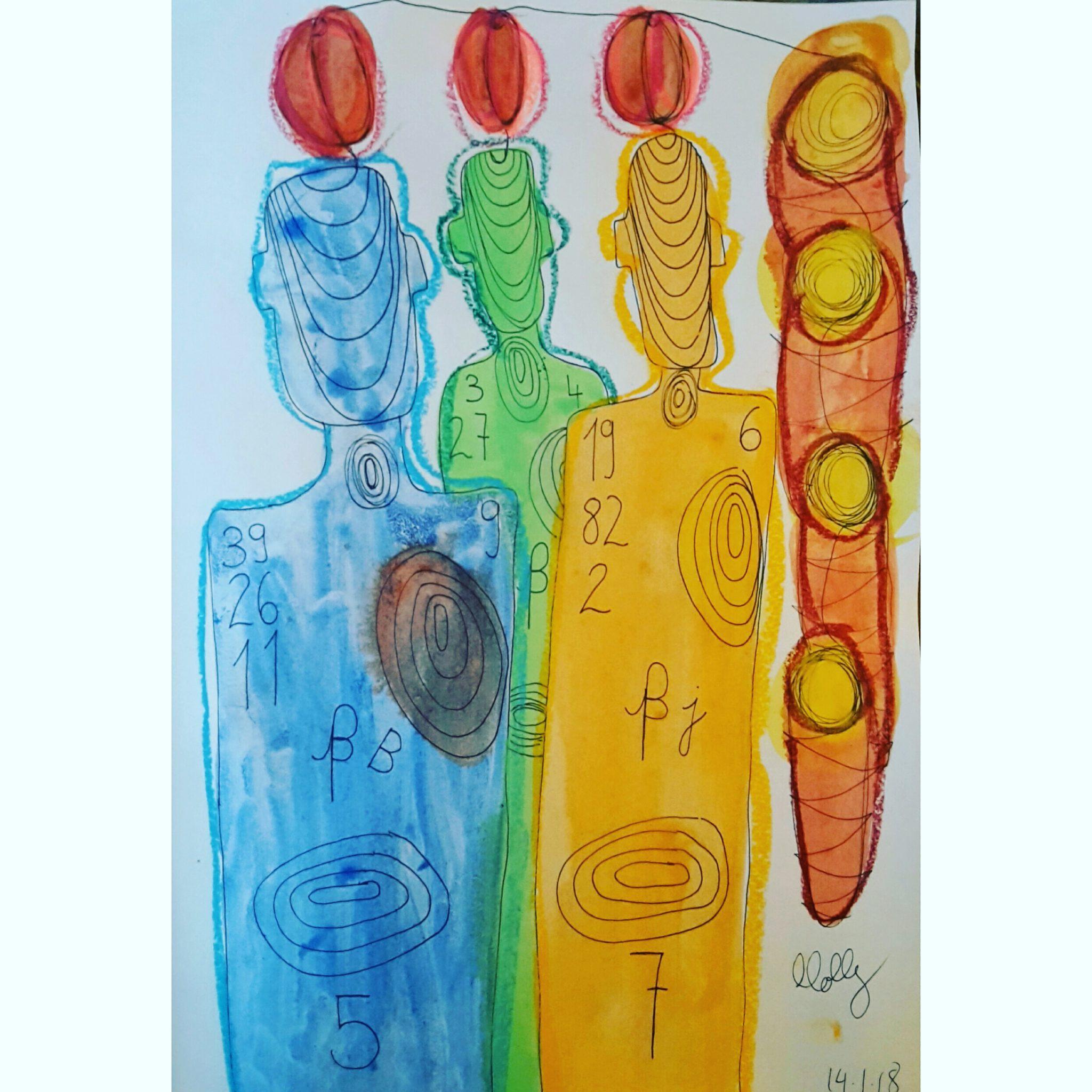 Das Bild «Familie», gemalt von Molly Holst. Die Synästhetikerin nimmt ihre Familienmitglieder auch als Farben und Zahlen wahr.