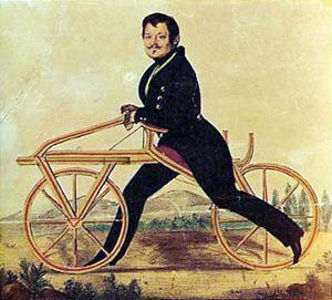 Karl Drais auf seinem Laufrad, auch Draisine genannt. Die Lithografie stammt von etwa 1820.