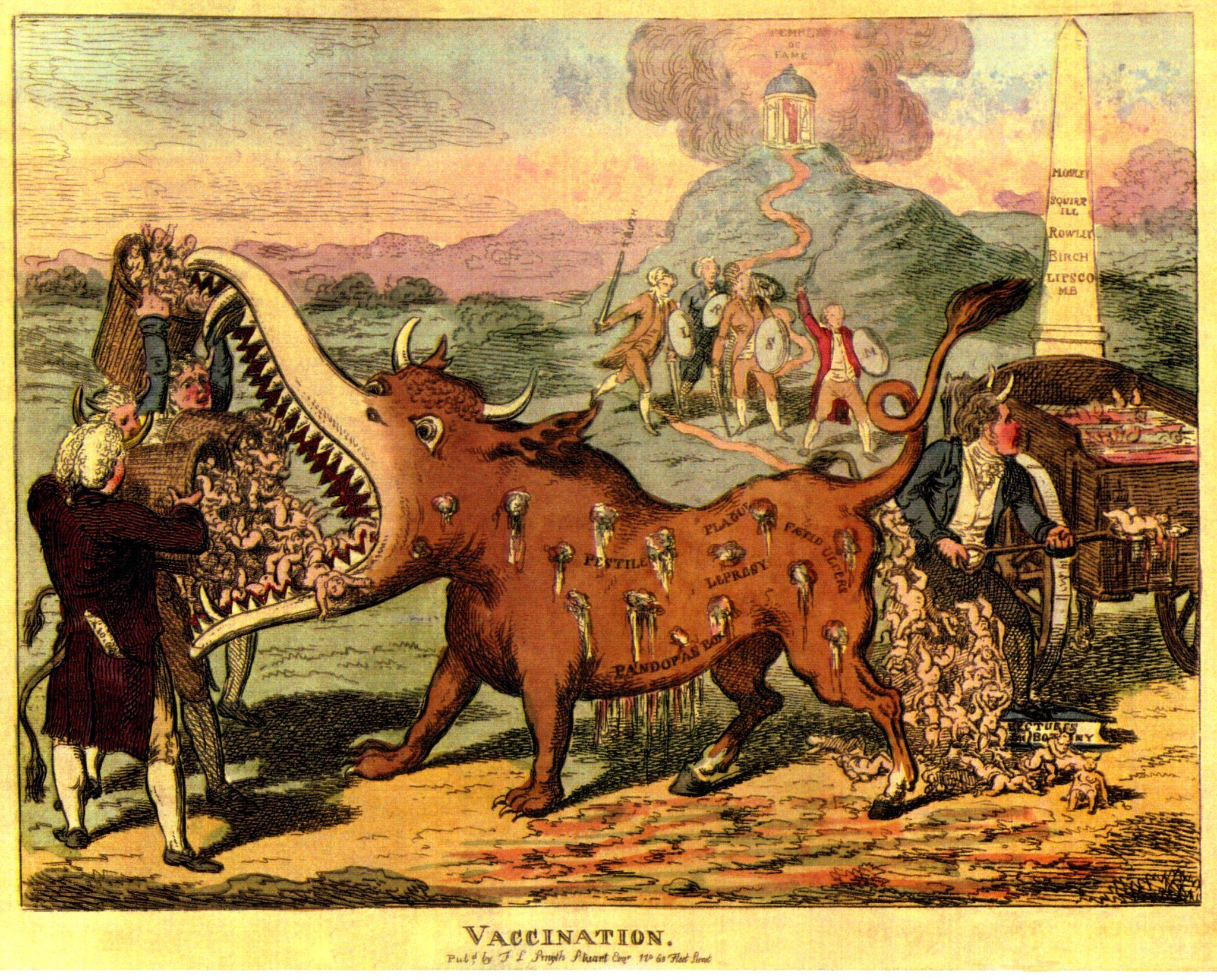 Impfgegner sind nichts Neues. Schon kurz nachdem Impfungen ihren Erfolgszug antraten, eigneten sie sich blendend für Angstkampagnen. Etwa mit dem Impfmonster – einem bedrohlichen Fabelwesen mit Hörnern, Pranken, eiternden Wunden und gefletschtem Gebiss (1807, unbekannter Künstler)