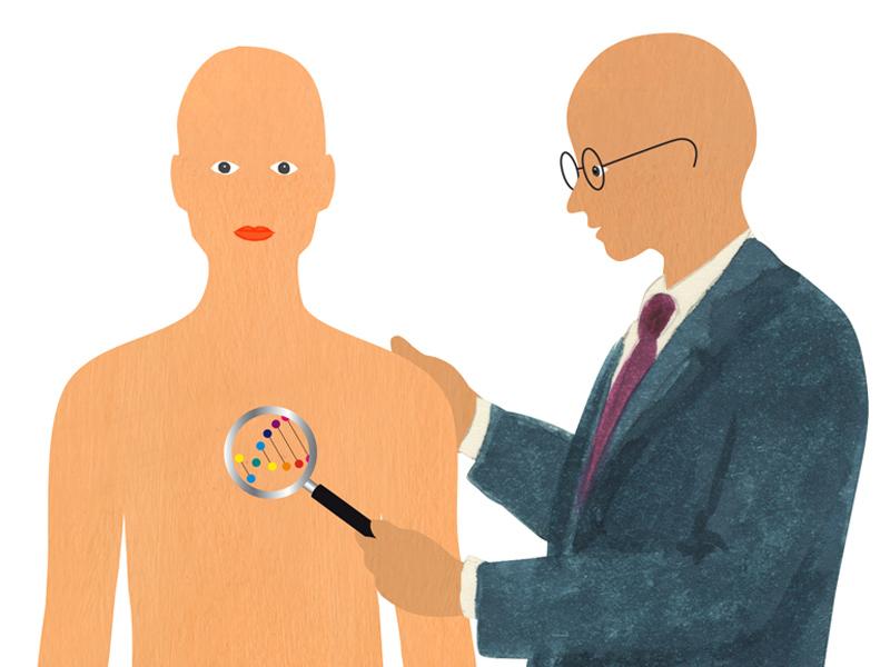 Illustration von zwei Männern, der eine hält eine Lupe über den Körper des anderen, darin ist die DNA sichtbar.