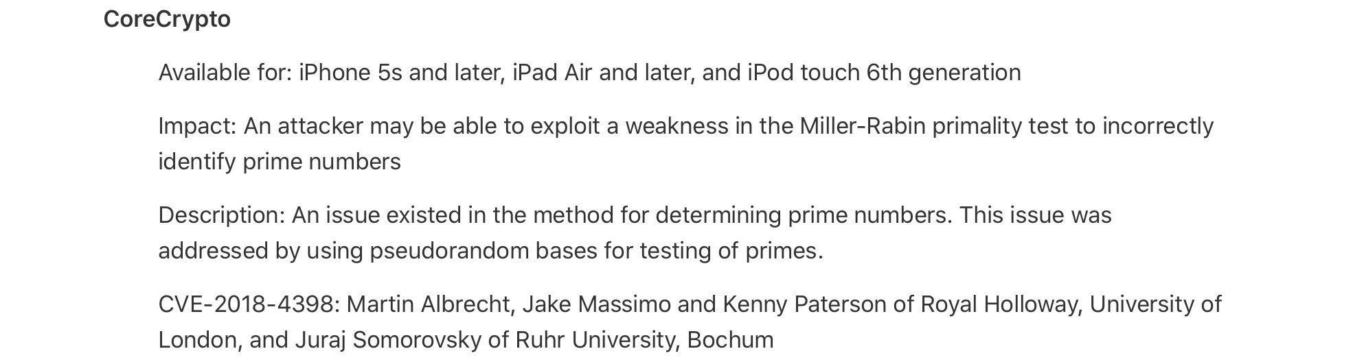 Auszug aus der Dokumentation des letzten Sicherheits-Updates von Apple mit der behobenen Sicherheitslücke, die Kenny Paterson mitentdeckt hat.