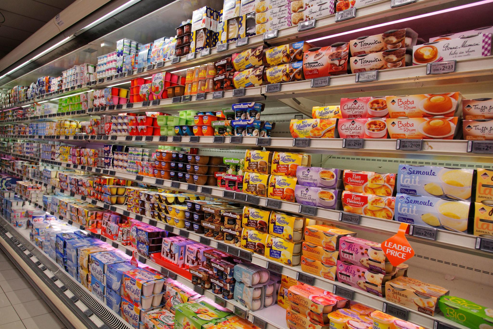 D03J2Y yogurt shelf in a supermarket
