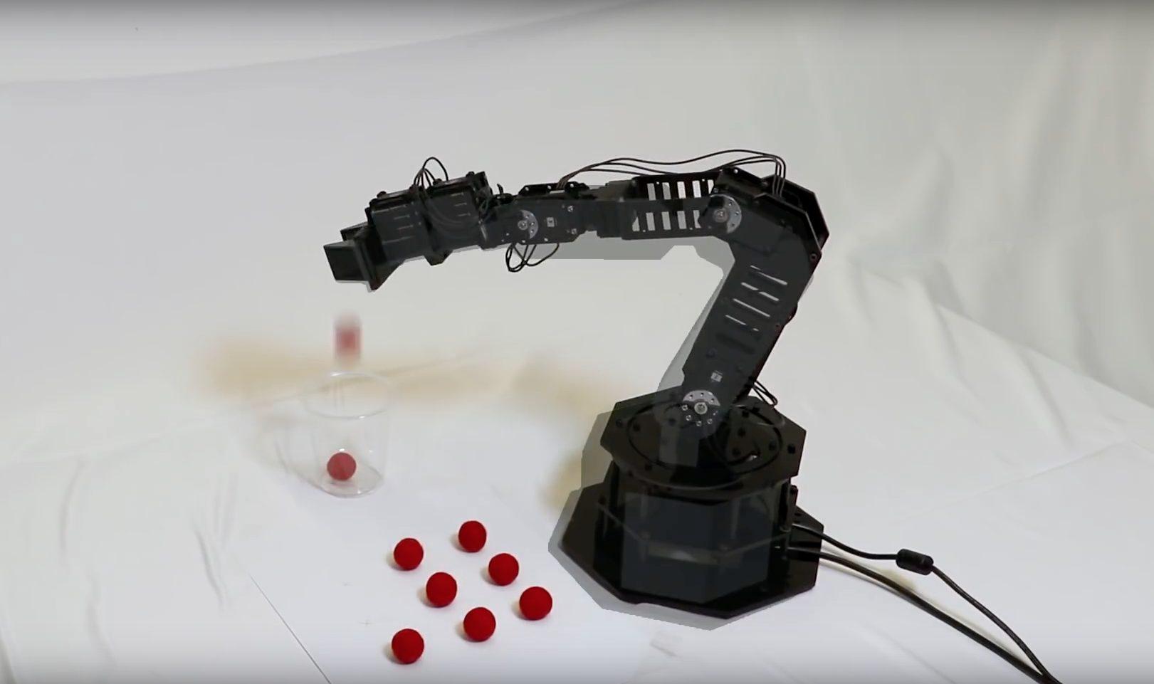 Roboter hebt rotes Bällchen hoch