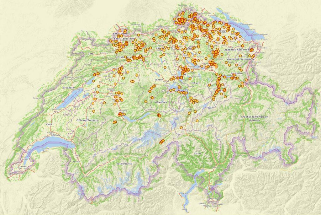 Sucht man auf der Plattform Ortsnamen nach der Endung «-ingen», so findet man die Orte, die auf alemannische Sippen zurückgehen. Es sind allerdings auch einige unechte «-ingen» dabei, und die Daten aus dem Kanton Wallis sind noch nicht erfasst.