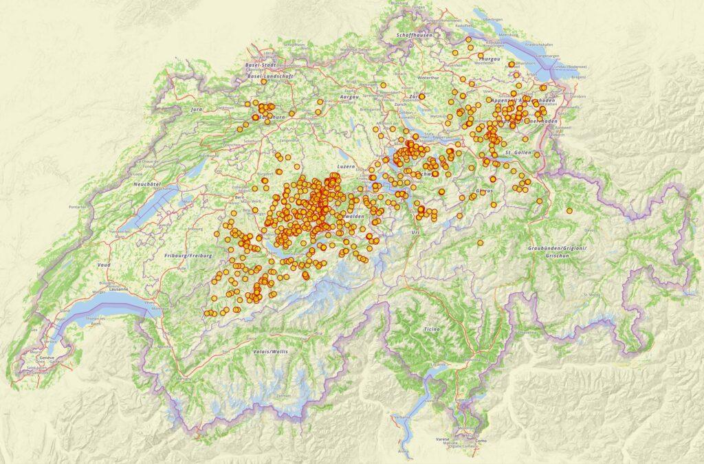 Sucht man auf der Plattform für Ortsnamen nach der Endung «-schwend», so findet man die Orte, die auf hochmittelalterliche Rodungen zurückgehen. Die Daten aus dem Kanton Wallis sind noch nicht erfasst.