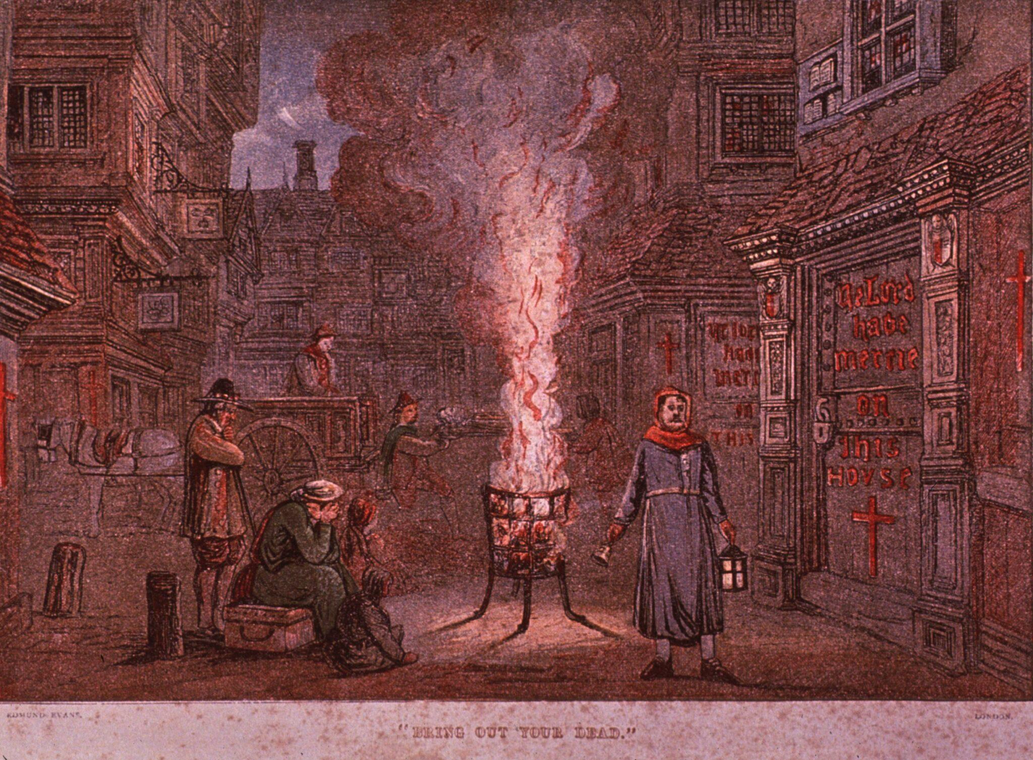 Zeichnung einer mittelalterlichen Strassenszene