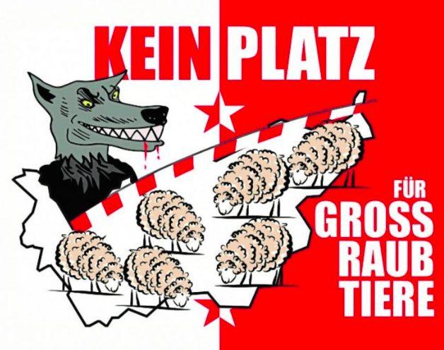 """Plakat mit Wolf, Schafen und dem Text """"Kein Platz für Grossraubtiere"""