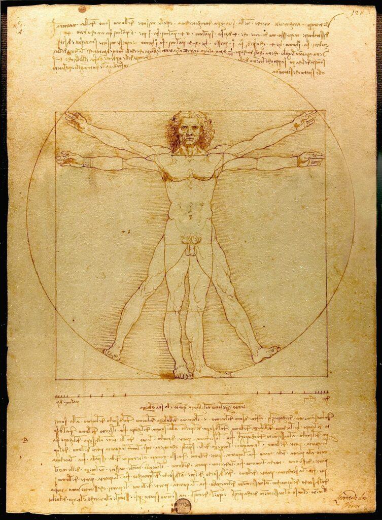 Da Vincis Zeichnung zum vitruvianischen Menschen