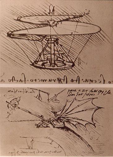 Skizzen von Da Vincis Erfindungen