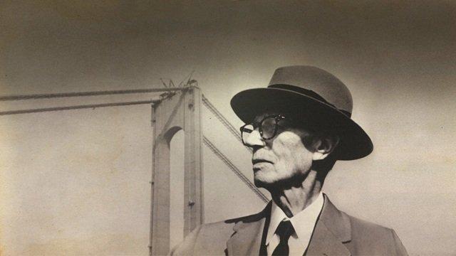 Othmar H. Ammann vor der Verrazzano-Narrows-Bridge
