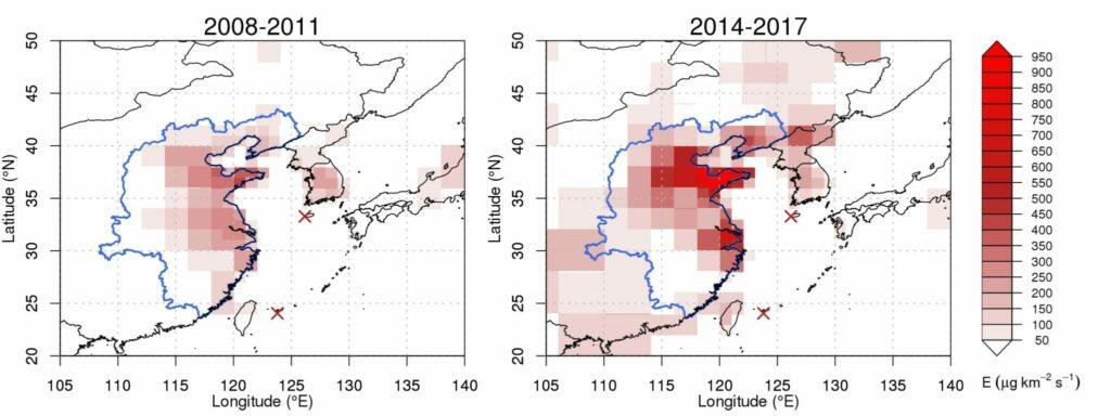 Die Messungen von FKW-11 in der Atmosphäre über Ost-China steigen seit 2014 an.