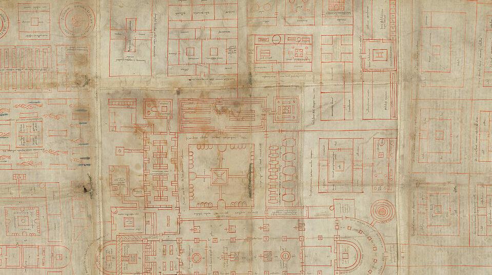 St. Galler Klosterplan aus dem 9. Jahrhundert.