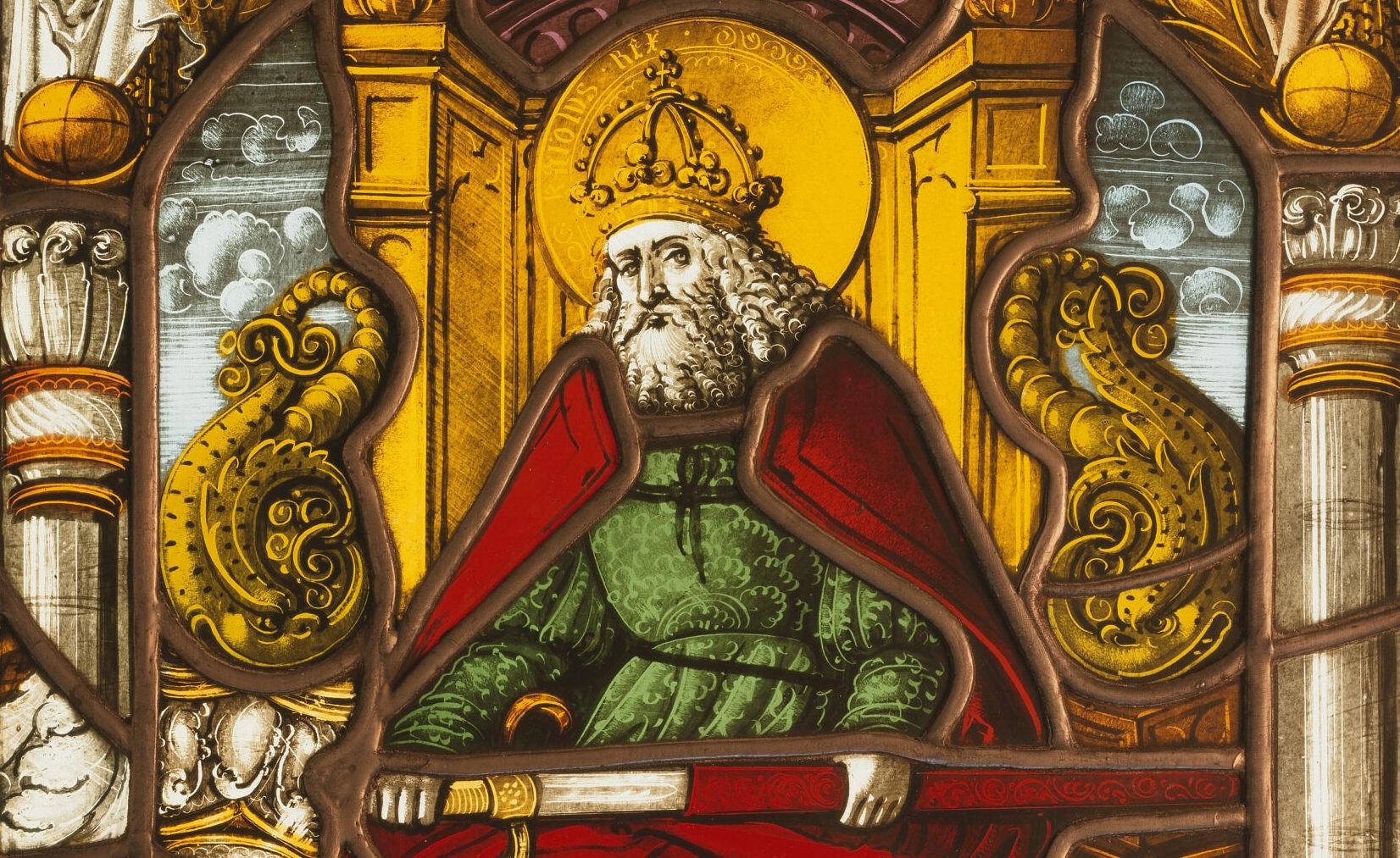 Ein Glasgemälde von Karl dem Grossen aus dem 16. Jahrhundert.