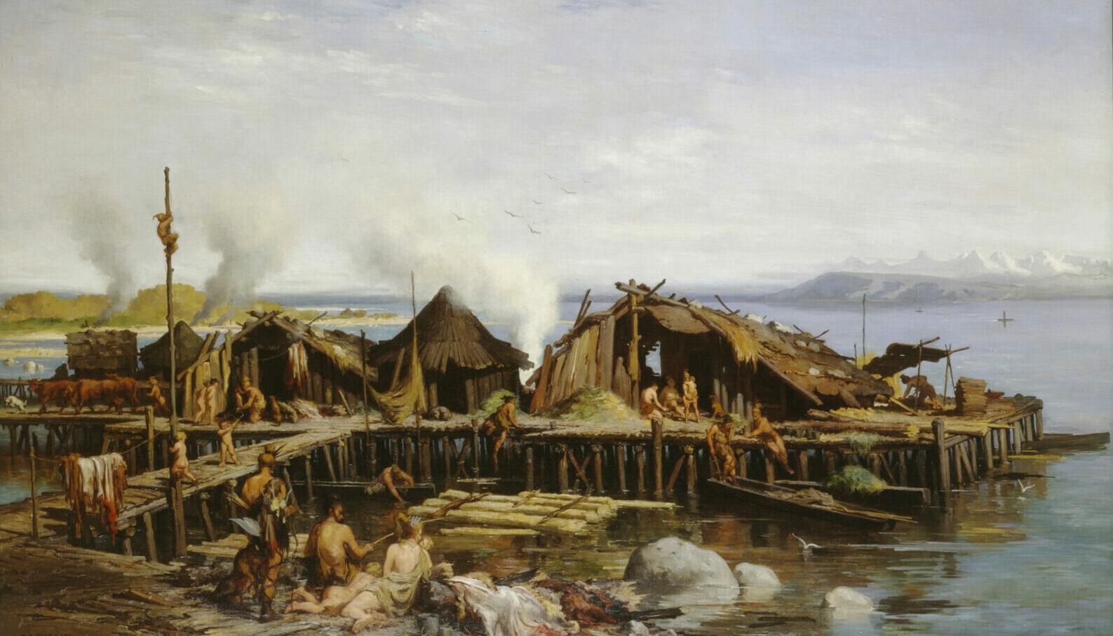 Idealbild einer Pfahlbauersiedlung, gemalt von Rodolphe-Auguste Bachelin, 1867.