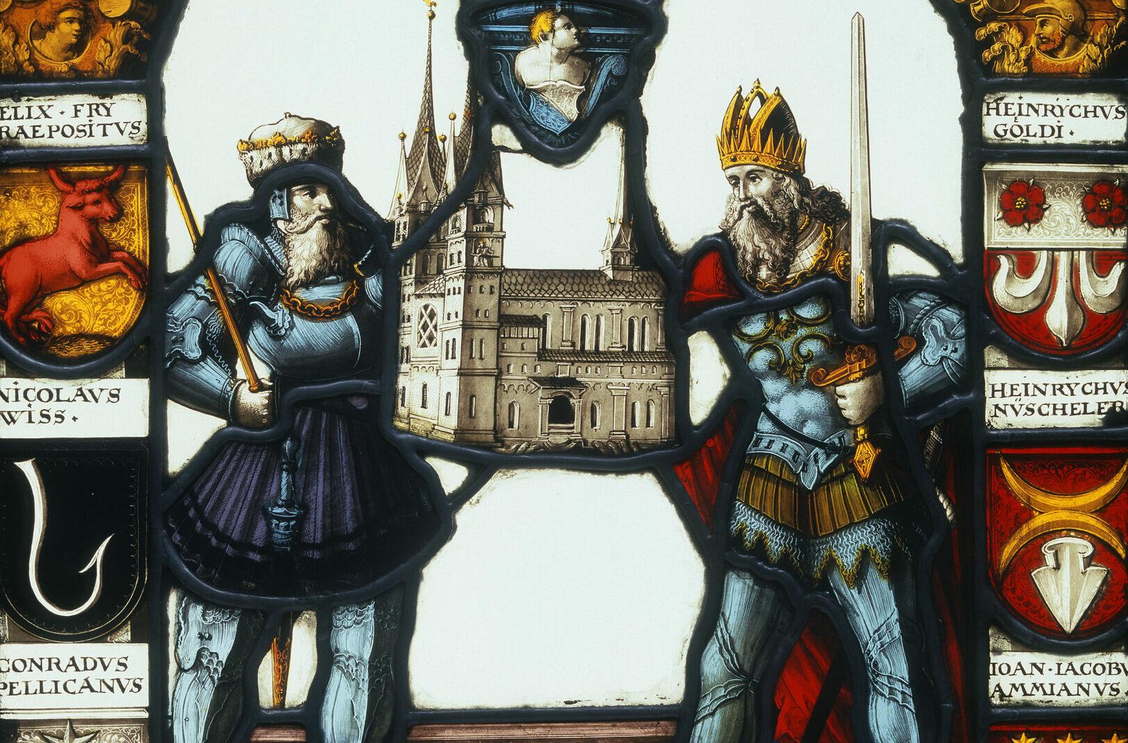 Glasgemälde von Pippin und Karl der Grosse