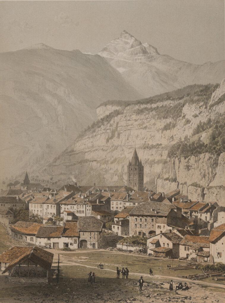 St. Maurice auf einer Druckgrafik aus dem 19. Jahrhundert. Im Hintergrund ist Dent du Midi zu erkennen.