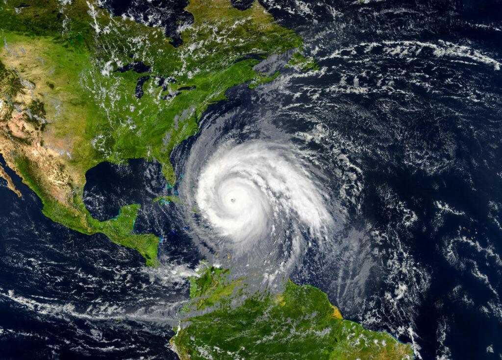 Blick auf einen Hurrikan vom Weltall aus