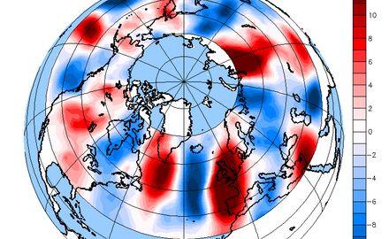 Anhand einer Karte von aktuellen Windgeschwindigkeitsdaten können Forschende das Verhalten wellenförmiger Jetstream-Winde beobachten.