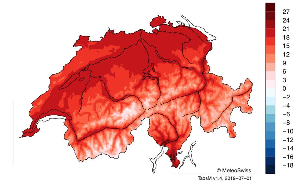 Landkarte der Schweiz, die sehr hohe Temperaturen anzeigt