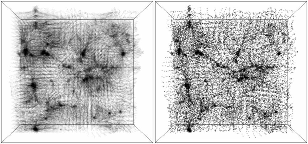 Das Universum in Form einer Box: Schwarze und graue Linien, die in einem weissen Rahmen oder über diesen hinaus verlaufen.