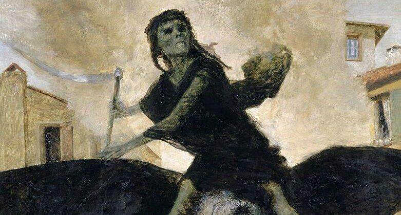 """Das Gemälde """"Die Pest"""" von Arnold Böcklin, 1898."""