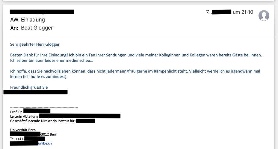 Screenshot von einem Mail, das eine Forscherin an Beat Glogger schrieb.