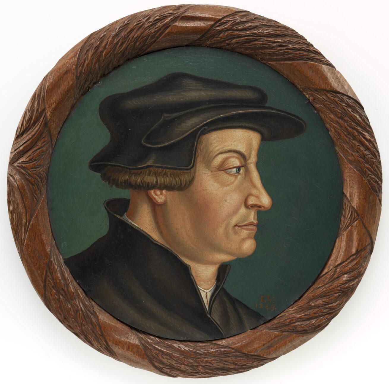 Porträt von Huldrych Zwingli. Gemalt hat es Ludwig Georg Vogel im 19. Jahrhundert.