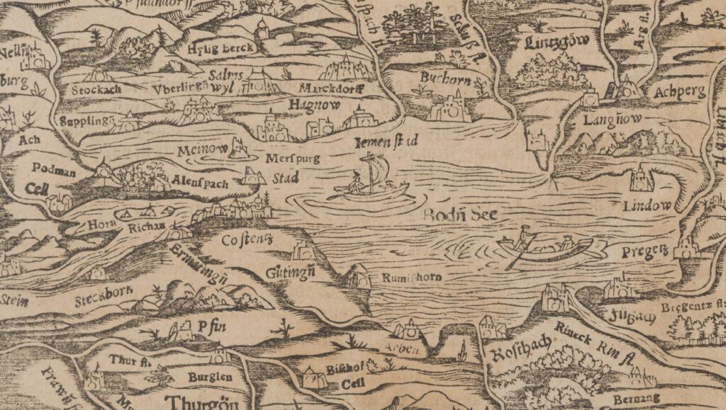 Landkarte des Bodensees aus Sebastian Münsters Cosmographie, um 1550.