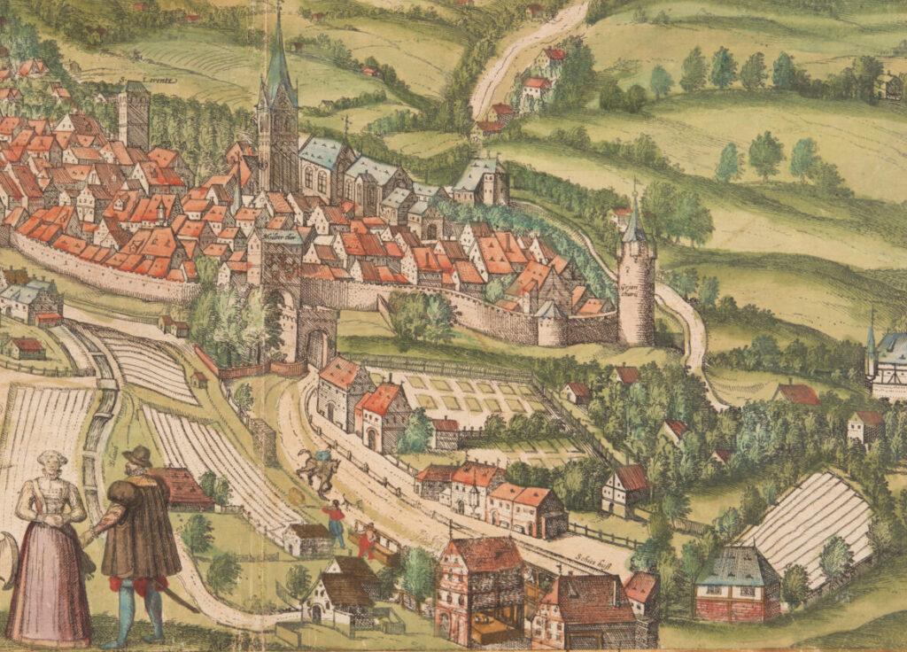 Eine Druckgrafik aus dem 19. Jahrhundert zeigt die Stadt St. Gallen mit dem Kloster.