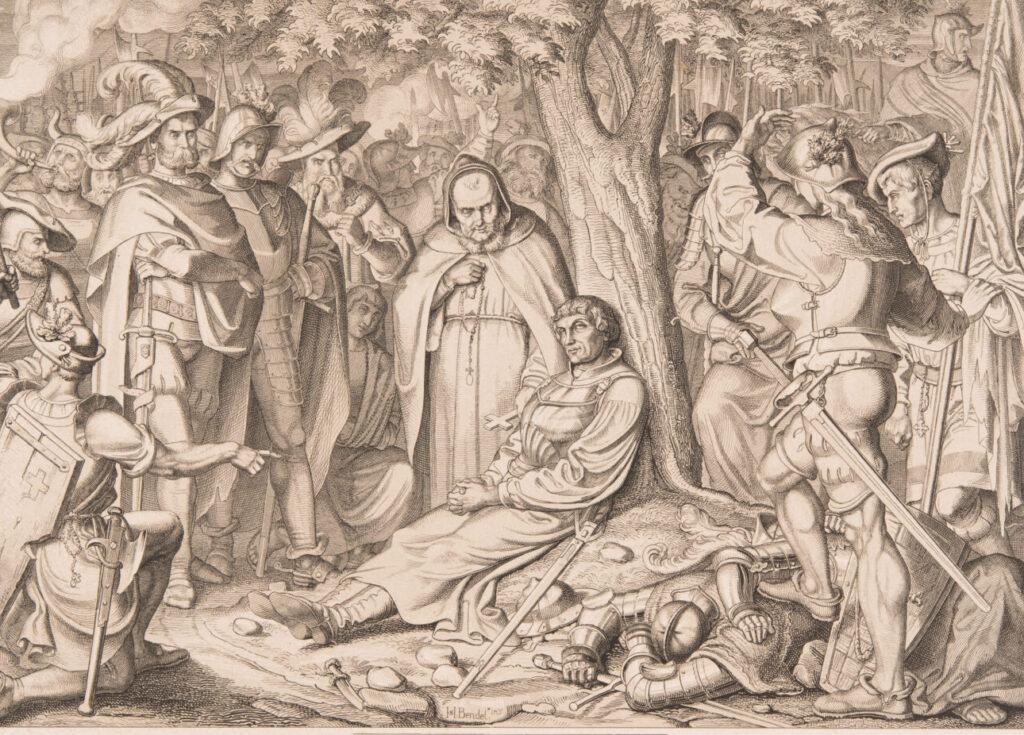 Zwinglis Tod bei Kappel 1531, dargestellt auf einer Druckgrafik aus dem 19. Jahrhundert.