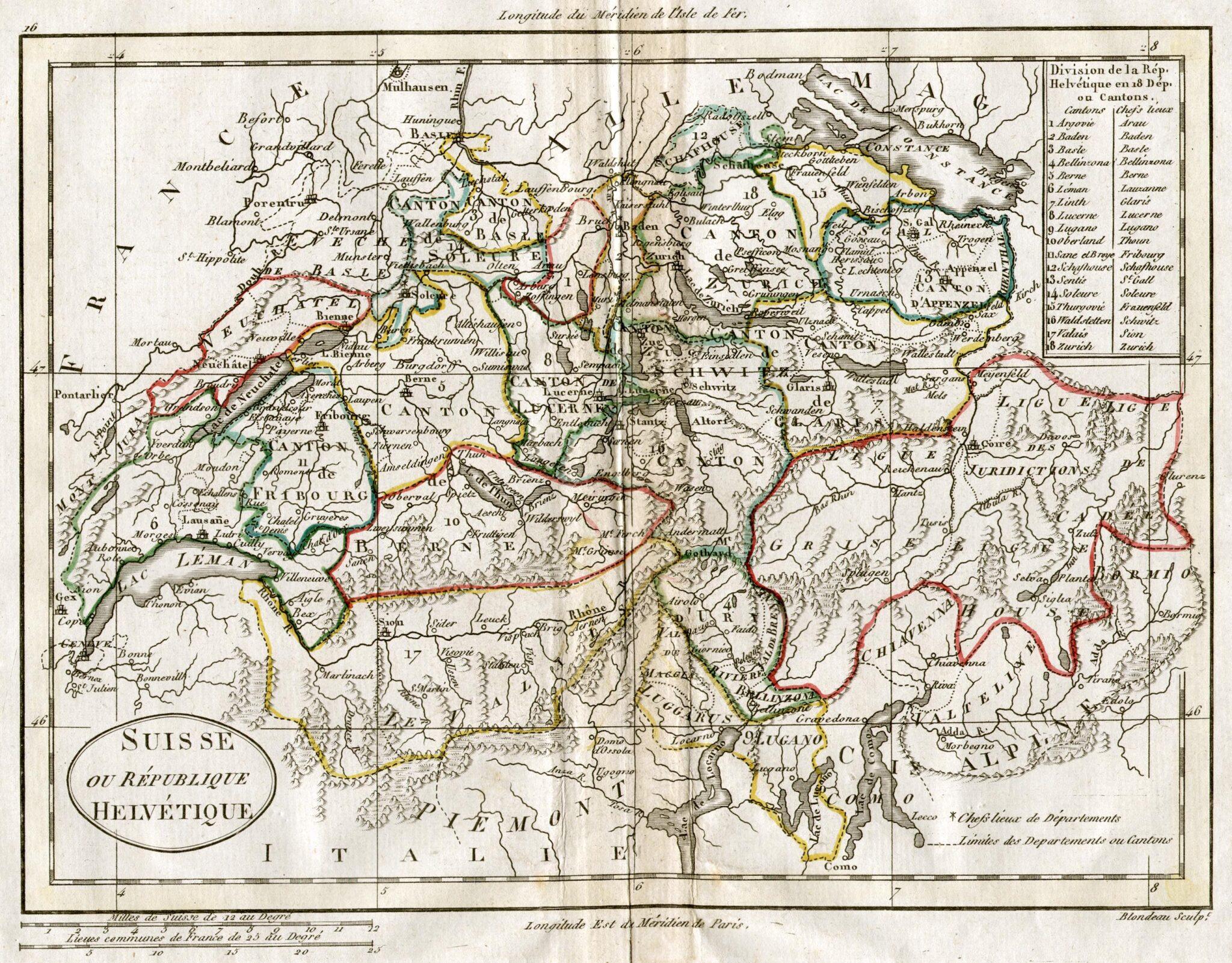 Historische Karte der Helvetischen Republik von 1798.