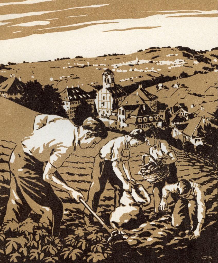 Linoldruck von Otto Schmid, der den Kartoffelanbau im 2. Weltkrieg
