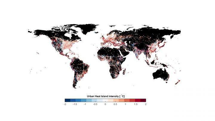 Weltkarte, die die Stärke des Hitzeinsel-Effekts geografisch einordnet.