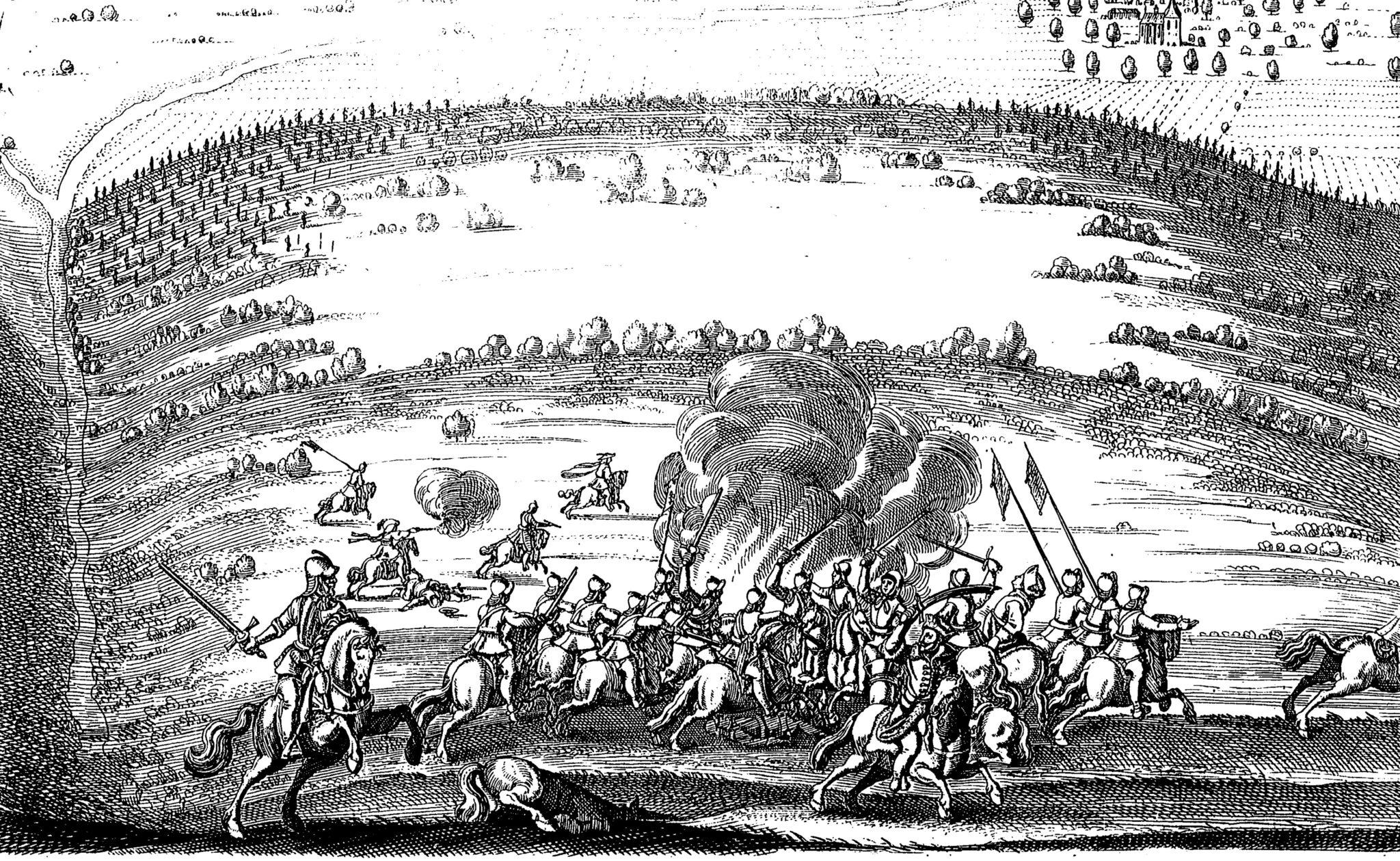 Druckgrafik der Schlacht bei Rheinfelden 1638. Entstanden um 1670.