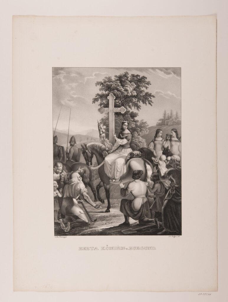 Druckgraphik von Königin Berta, um 1835.
