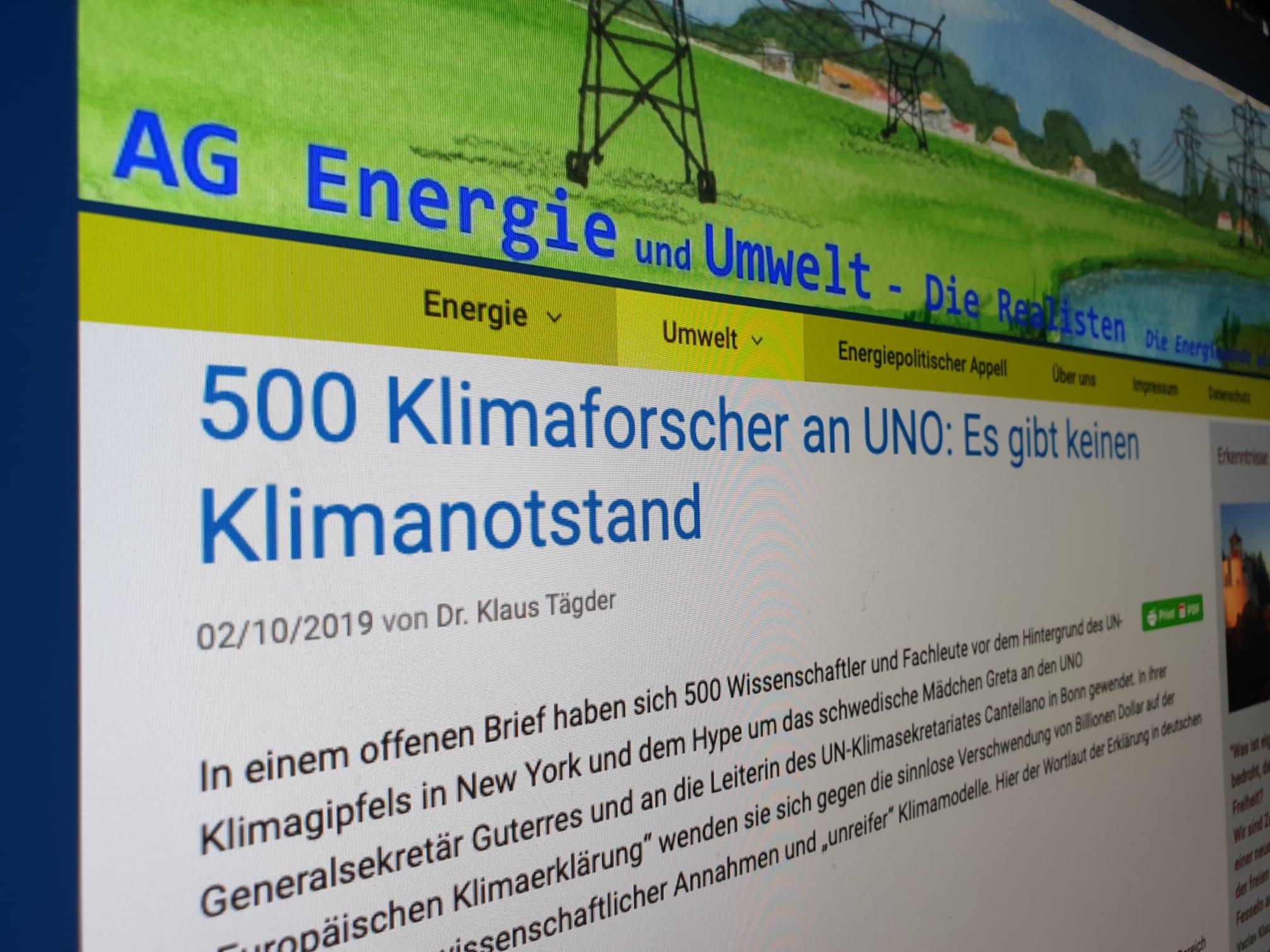 Irreführender Titel auf der Webseite der «AG Energie und Umwelt».