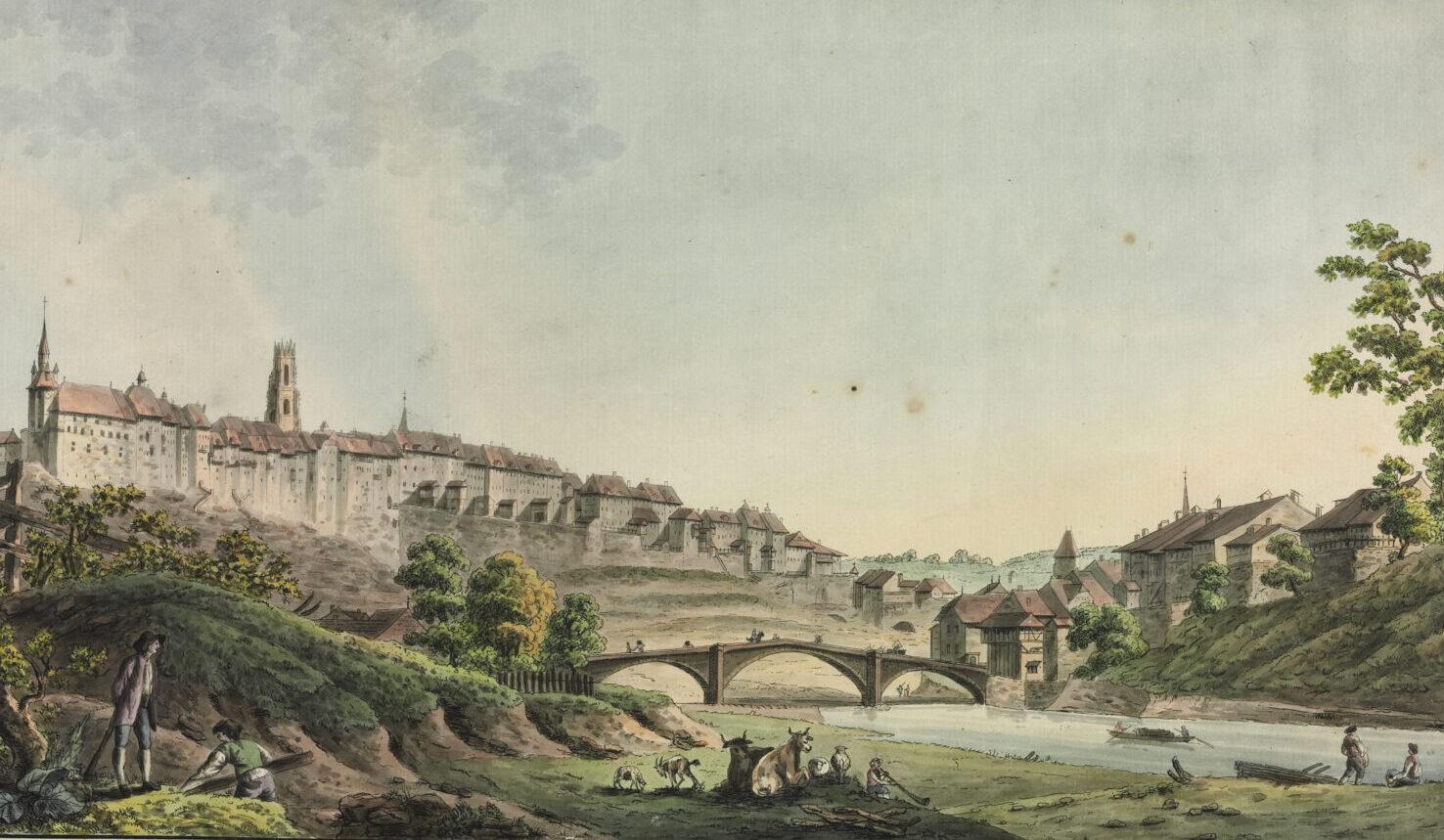 Ansicht der Stadt Fribourg um 1800.