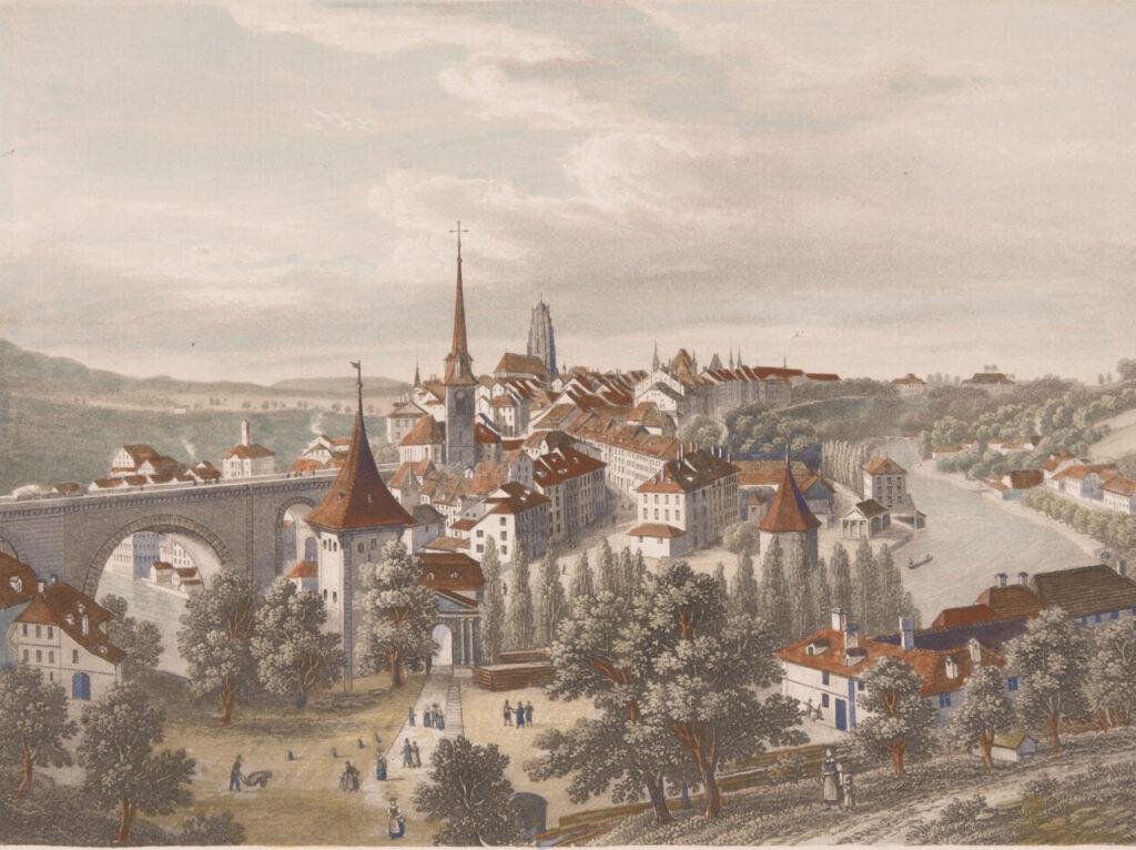 Druckgrafik von Bern aus dem 19. Jahrhundert. Im Vordergrund die Nydeggkirche.
