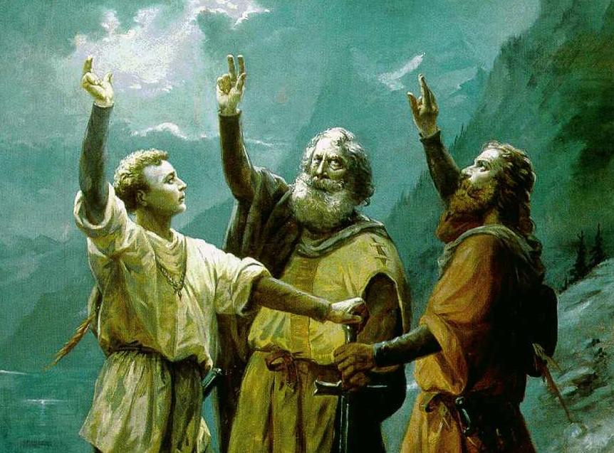 Malerei von Jean Renggli. Darauf die drei Eidgenossen.