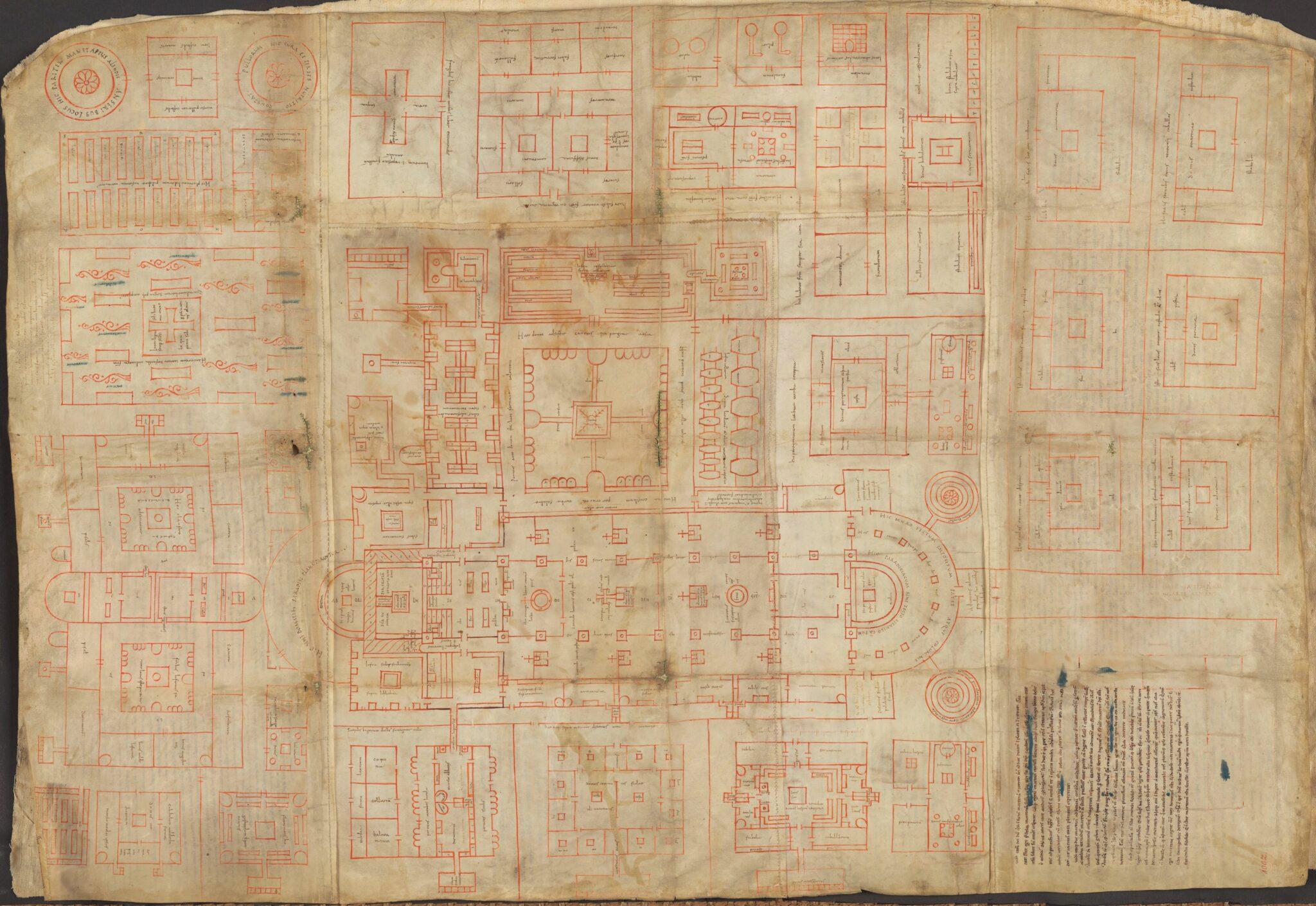 Klosterplan für das Kloster St.Gallen aus dem Jahr 820