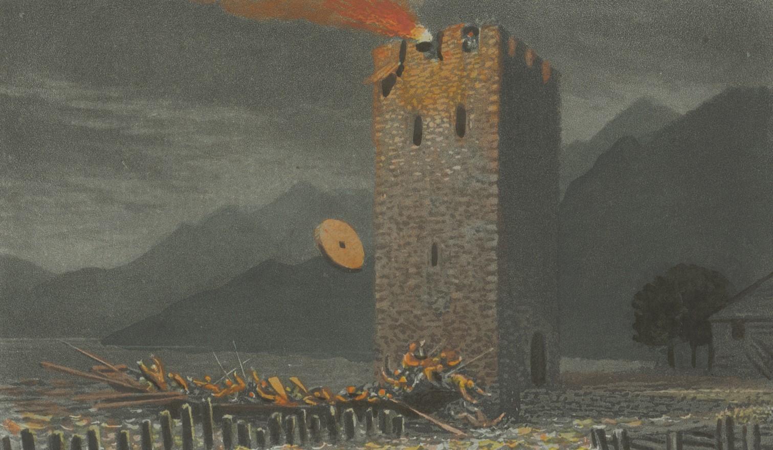 Druckgrafik der Verteidigung des Wachturms von Stansstad.