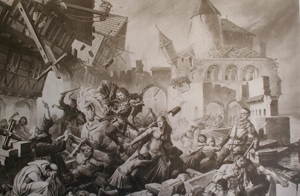 Dramatisierende Darstellung des Erdbebens in Basel des Historienmalers Karl Jauslin aus dem 19. Jahrhundert.