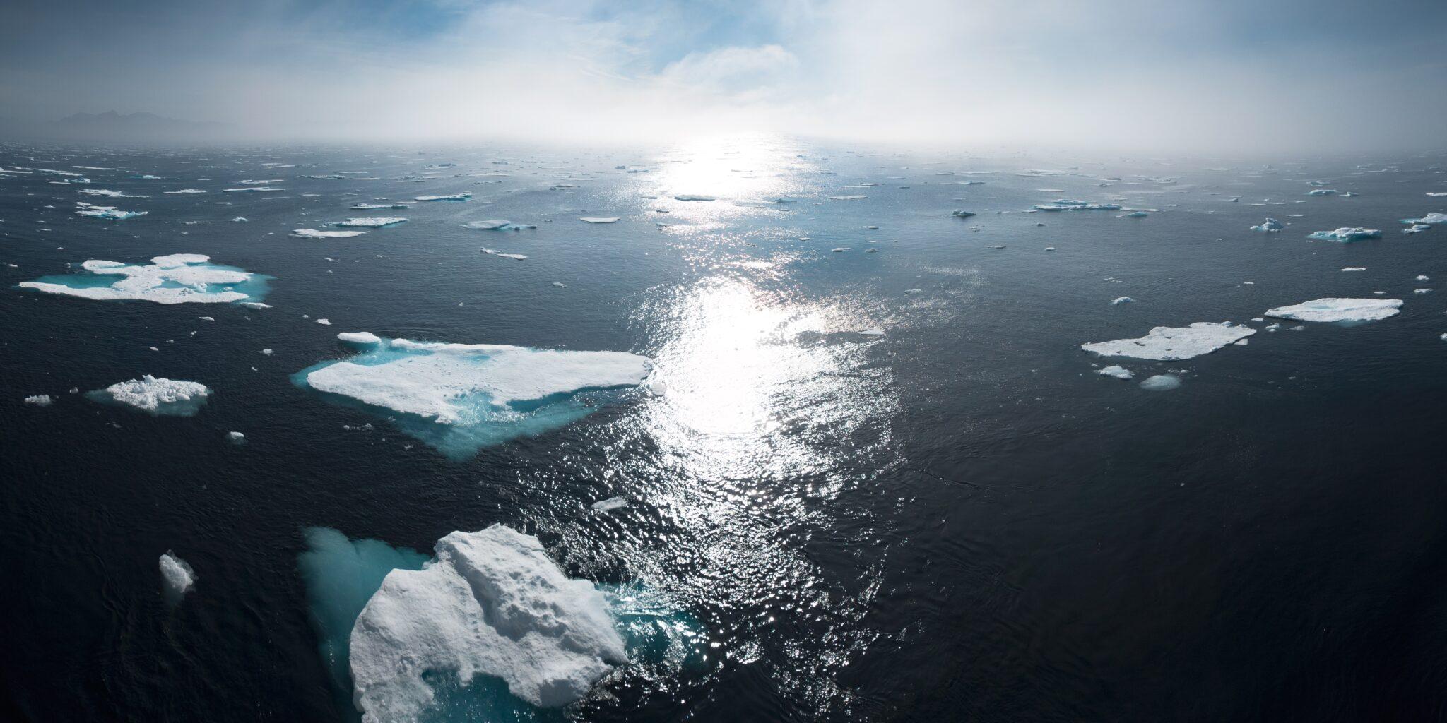 Arktischer Ozean mit Eisschollen darauf.