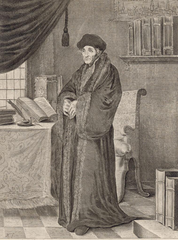 Herrenporträt von Erasmus von Rotterdam. Der Holzschnitt wurde um 1650 hergestellt.