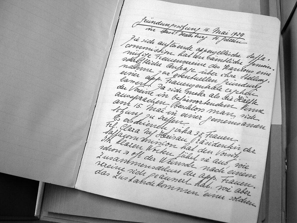 Ein Auszug aus dem Gründungsprotokoll der Frauenzentrale Appenzell Ausserrhoden