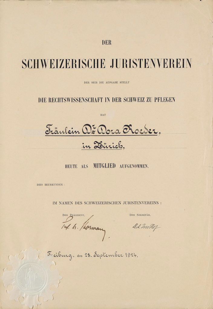 Zeugnis des Schweizerischen Juristenvereins