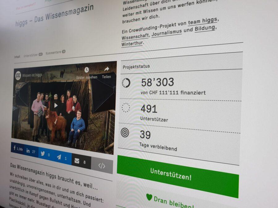 Ein Bildschirmfoto der Crowdfunding-Seite